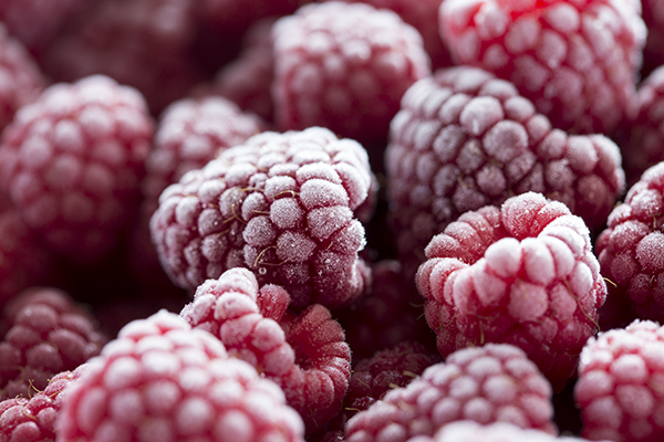 Fresh raspberries frozen