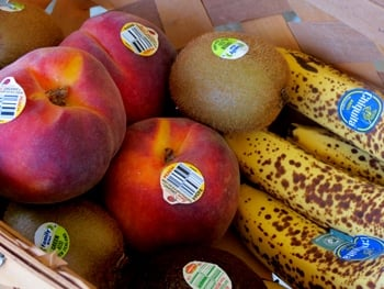 PLU stickers on fruit