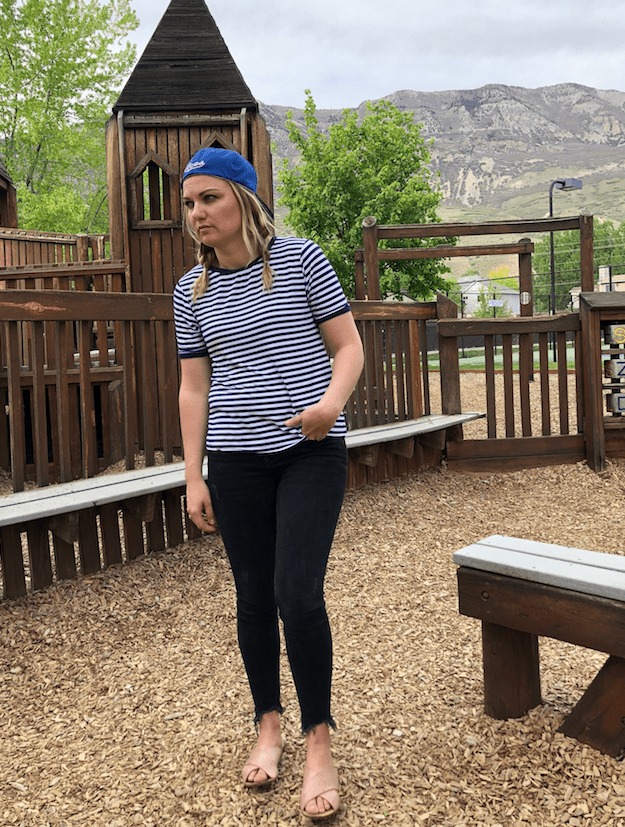 a49ca67658a I ordered them to replace my other ones!    Striped tee    Jeans – sold out  but this is the same fit in a different color.