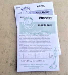 Seed packet for 'Magdeburg' chicory, the type used to make chicory coffee.