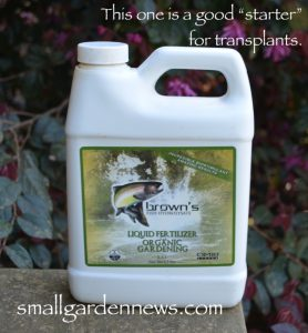This fish fertilizer is great to dilute for use as a starter fertilizer for transplant in the organic garden.