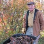 Rev. Bill Shaw, my stepdad, helping in our yard during an Autumn visit.