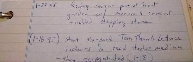 Excerpt from a garden journal with notes from two planting dates in January, 1995. Ink on light blue paper.