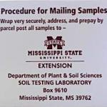 front of a soil sample box for Mississippi State Extension soil testing lab, showing mailing instructions