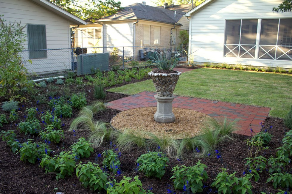 (above) View from the alley looking northwest. Plants in the foreground are Black and Blue Sage and Mexican Feather Grass. In the pot, a Yellow Yucca has been planted.