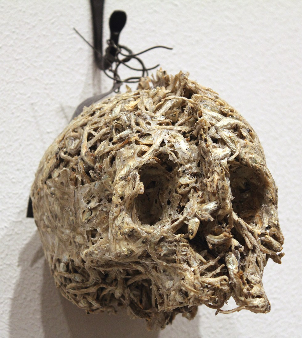 (above) Helen Altman, 'Anchovy Skull,' 2009. Dried anchovies, wire, and glue, 7 x 8 x 5 inches