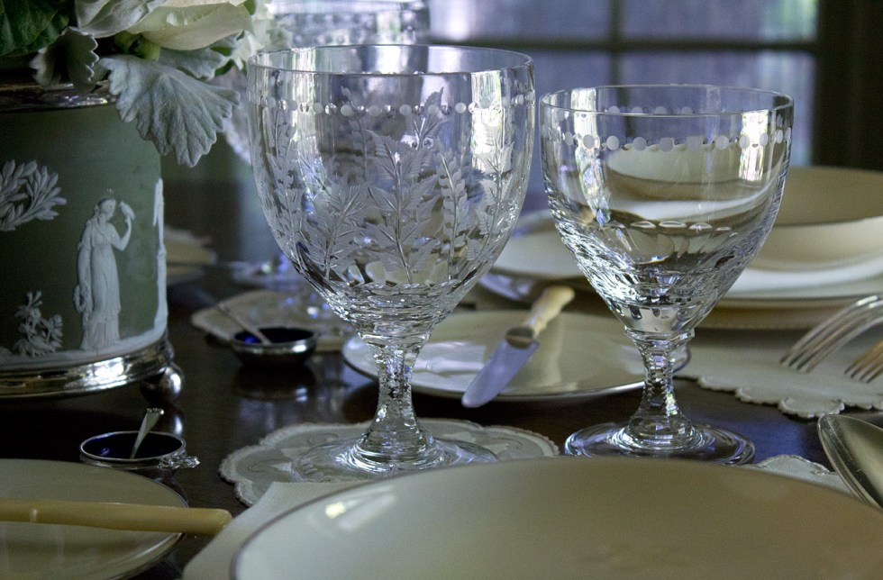 Detail view showcasing my new William Yeoward crystal goblets purchased through Neiman Marcus.