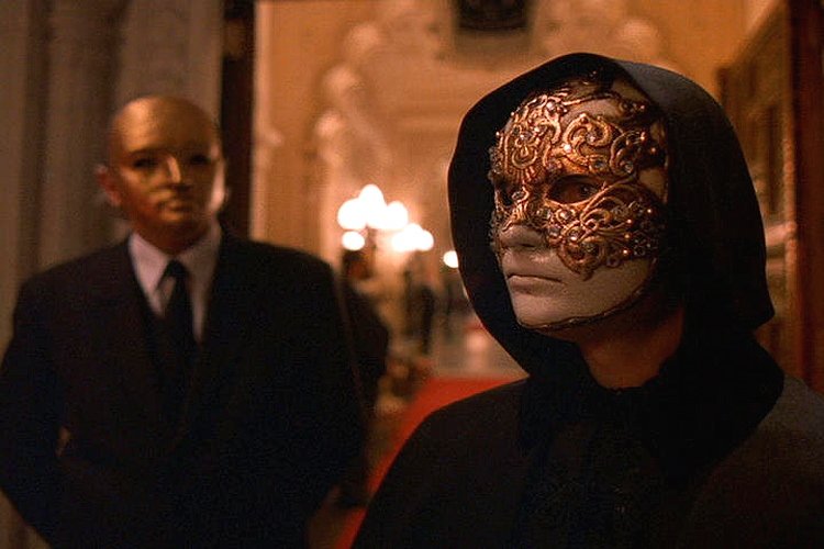 (above) Another still from 'Eyes Wide Shut.' Most of the masks in this film are customized outlandish variations of  the typical versions found in Venice and on the internet. Mondo Novo supplied some of the masks, but with two other mask shops involved and the costume team tricking them out, it's hard to identify which masks originated from them.