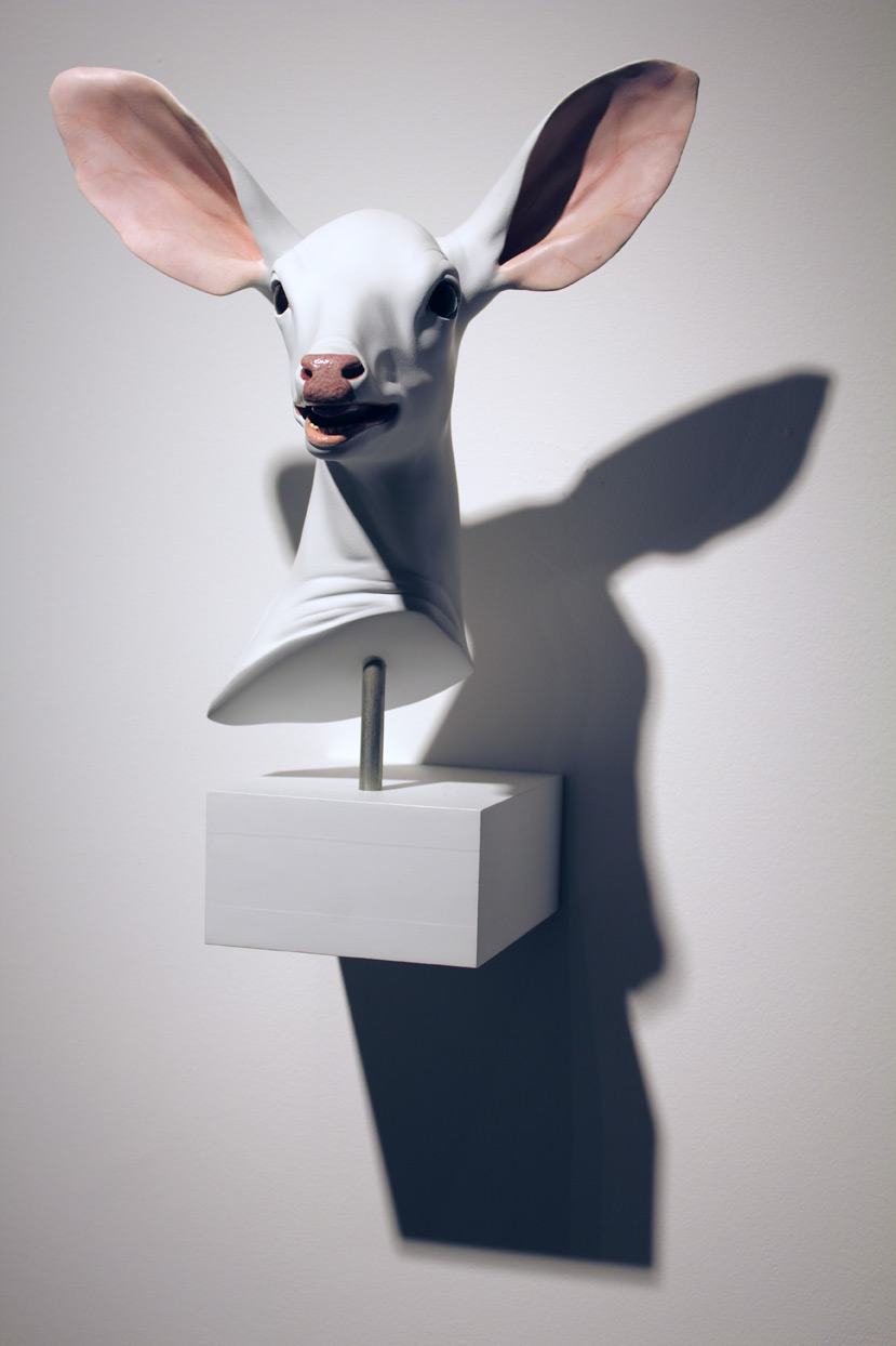 (above) 'Muncie Head,' 2001, plastic resin, edition of 7, 14 x 10.5 x 10 inches