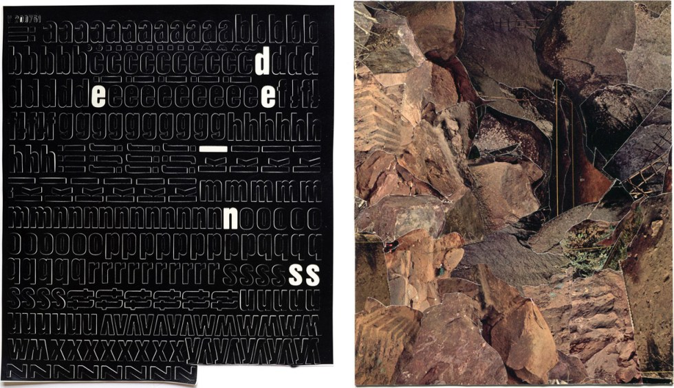 "(left) 'Esdenis', 2012, Letraset, 10"" x 9""; (right) 'Field #26', 2012, collage on paper, 8/5"" x 7"""