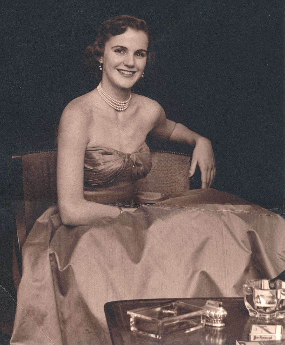 (above) This photo of my mother was taken for the newspaper. Please note how prominently the sterling cigarette lighter and Parliament cigarettes were displayed. In those days all respectable homes were expected to have these accoutrements. And the same goes for the Steuben crystal ashtrays.
