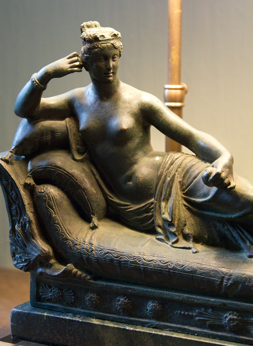 A bronze copy of the famous reclining Pauline Bonaparte