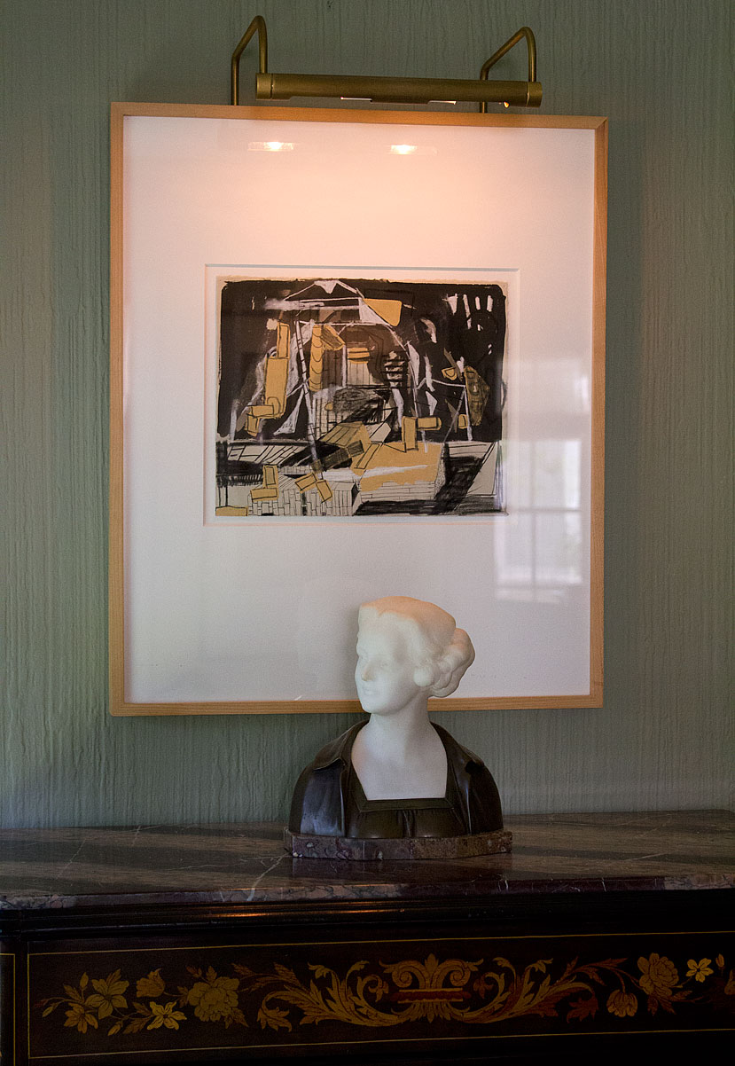 (hanging) Lorraine Tady, 'BTT-TAR (96B),' 1999, charcoal, ink, acrylic on paper; (tabletop) Professor Otto Poertzel's Carrara marble bust previously discussed here