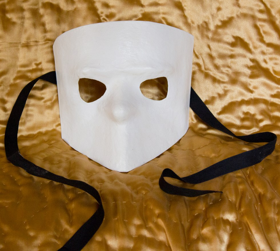 (above) This one, purchased from Mondo Novo, is called a Baute. Men would wear this when attending a promiscuous and decadent event. Not only was it a good facial disguise, but the shape helped to disguise the voice.