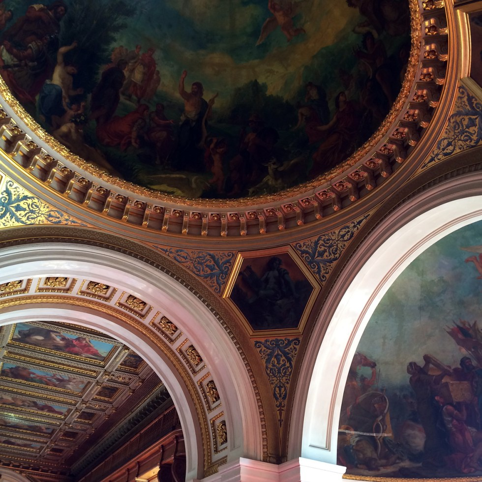 (above) This new library's ceiling contains a cycle of paintings (1845–1847) by Eugène Delacroix. This photo is of the center section with Dante's Inferno by Delacroix.