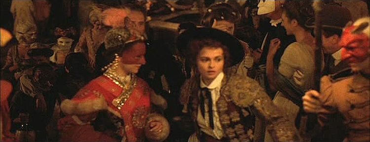 (above four) These stills are from one of my all time favorite films, 'Wings of the Dove.' I would love to be able to travel back in time as one of these costumed characters and celebrate Carnivale in this way. Sadly, today's celebrants have too many tourists mingling among them wearing fanny packs and nylon sweats.