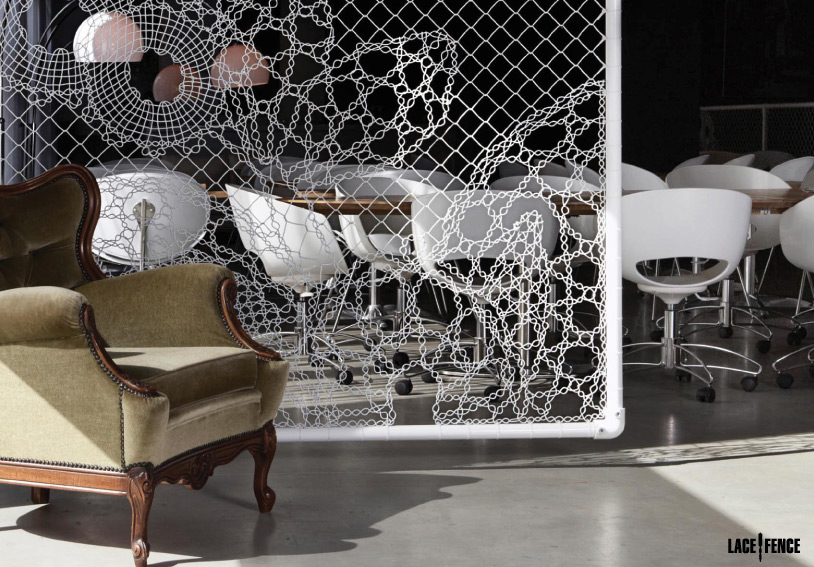 (above) Lace Fence used as interior room panels and/or room dividers.