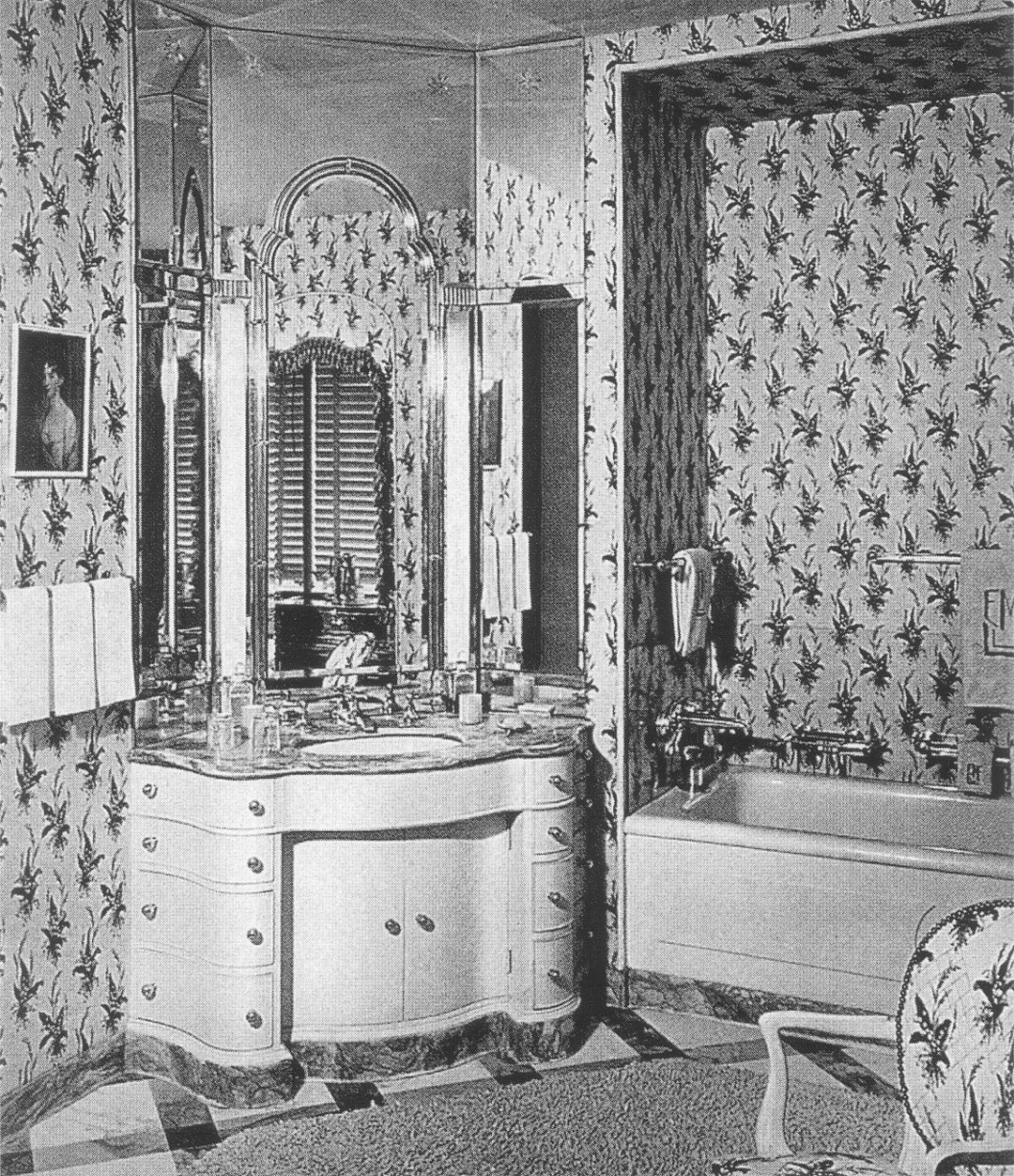 (above) This ornately shaped vanity, from the book 'David Adler, Architect