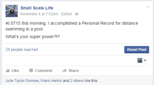 Personal Record Post on the Small Scale Life Facebook Page