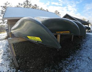 Sleeping Canoes at Parduns Canoe Rental in Danbury, Wisconsin