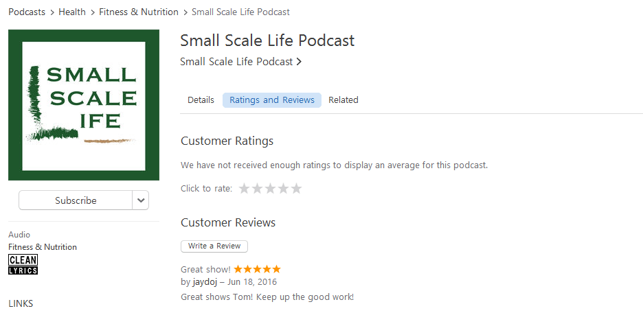 Podcast; Ratings; iTunes; Small Scale Life; Healthy Lifestyle Podcast; Small Scale Life Podcast