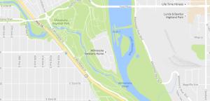 Map of the Minnehaha Falls Regional Park. Source: Google Maps