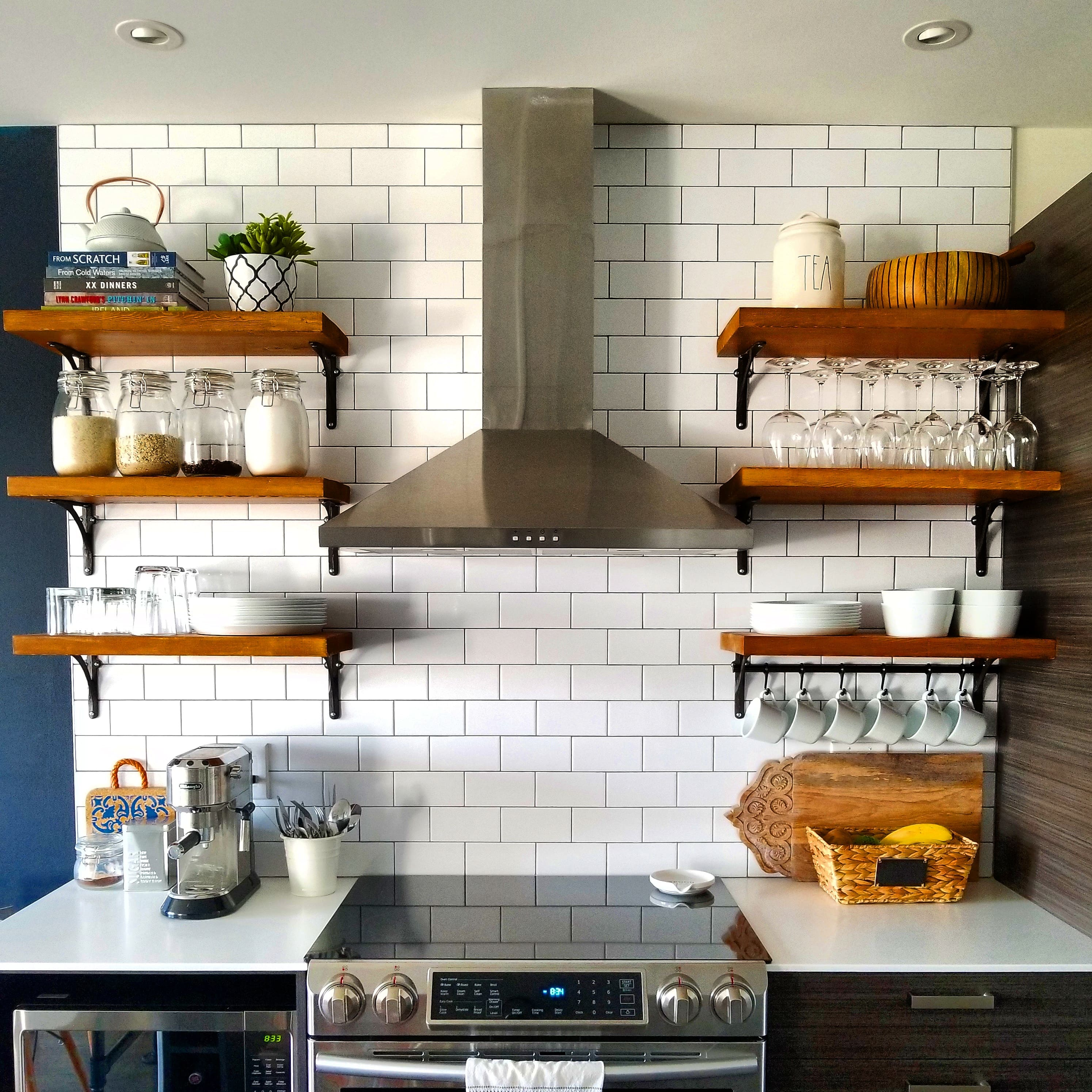 Open Kitchen Shelving How to Build and Mount Kitchen Shelves