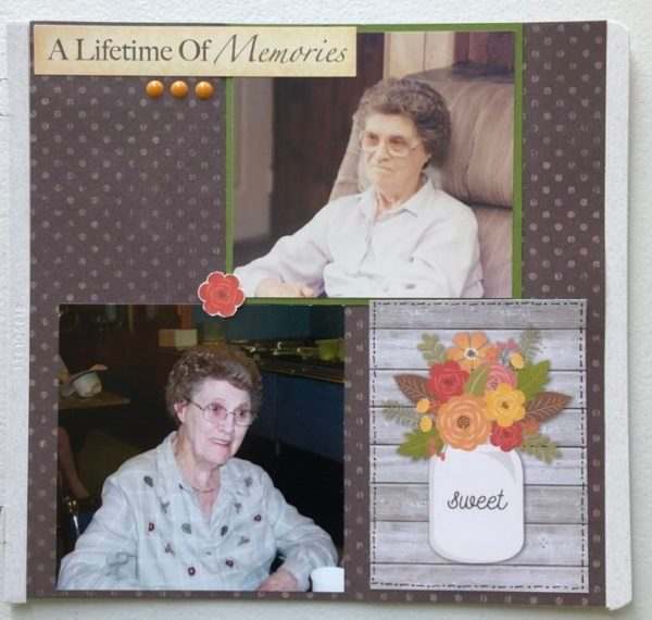 8x8 Scrapbook layout of my grandmother; background paper brown with polka dots, 3x4 card from Simple Stories of a mason jar with flowers, enamel dots and a Lifetime of Memories sticker