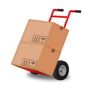 A trolley with moving boxes, used by movers Arlington TX.
