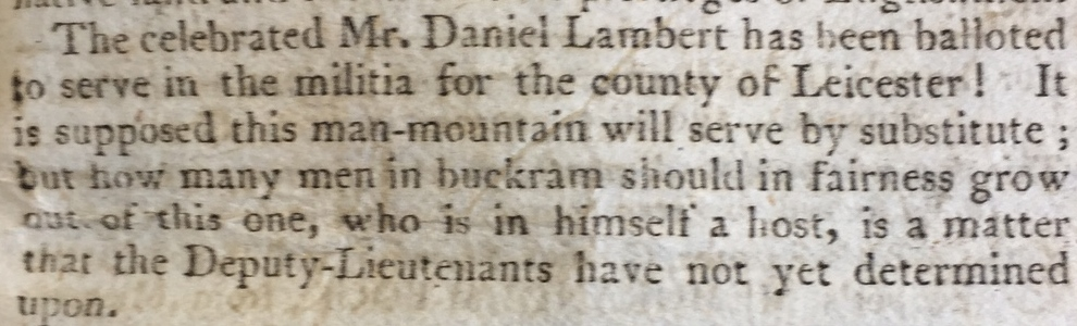 Man-mountain to serve in militia.