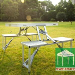 Picnic Table-桌椅連體-白色