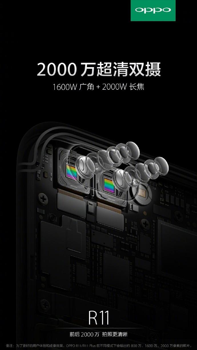 Render oficial del OPPO R11 y su cámara posterior de lente dual.