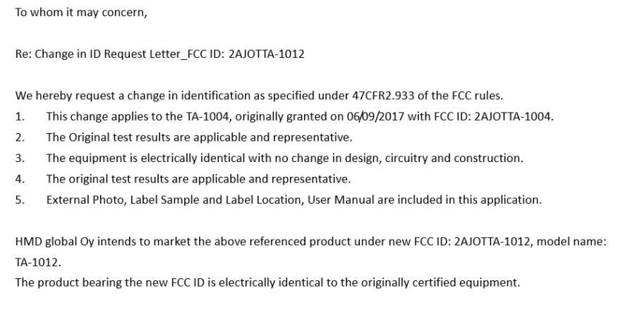 Petición de HMD Global a la FCC para el cambio de modelo del TA-1004 a TA-1012.