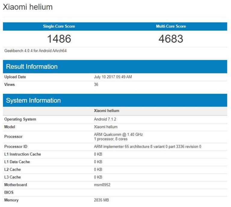 Captura del Xiaomi Helium en Geekbench.