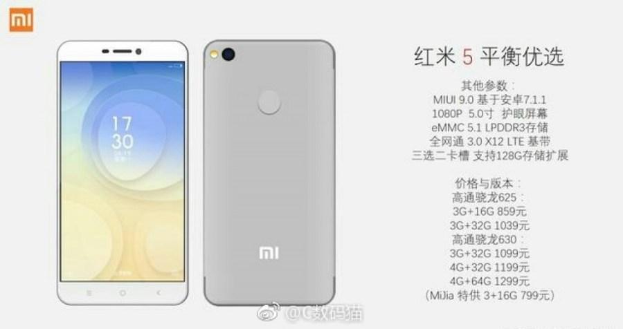 Frente y dorso del Xiaomi Redmi 5 color gris claro.