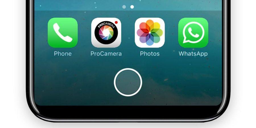 Render ilustrativo de la barra de aplicaciones y botón de menú digital del iPhone 8.