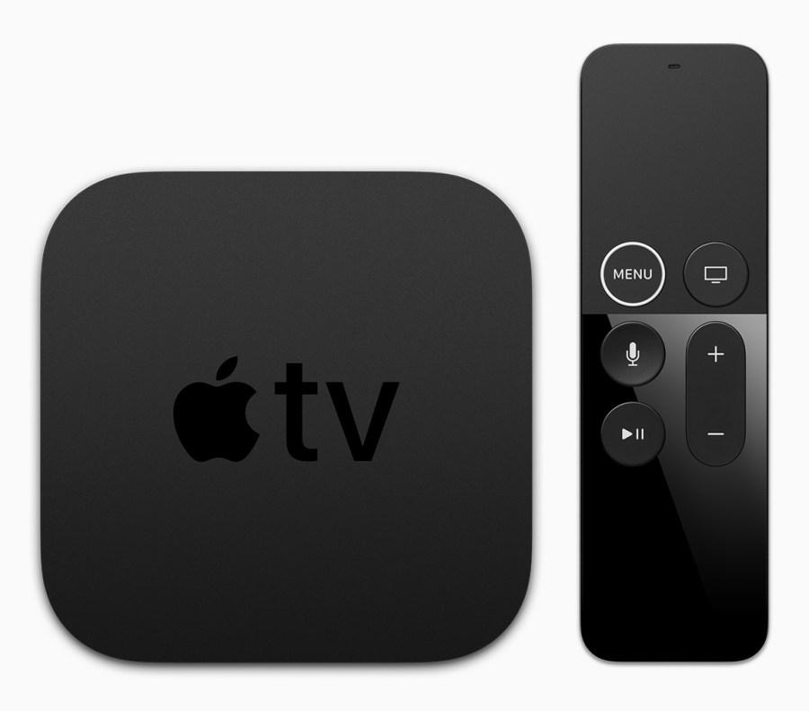 Render oficial del dispositivo Apple TV 4K y su control remoto.