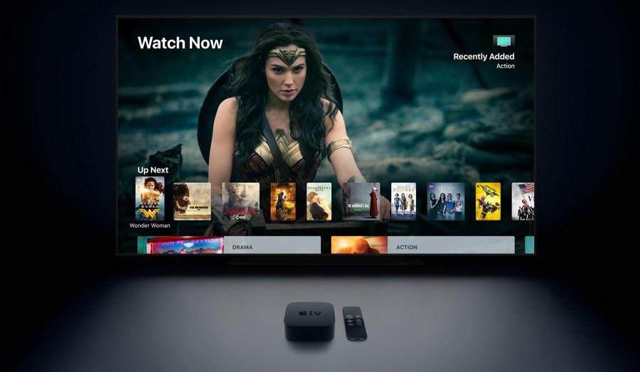 Ilustración oficial del Apple TV 4K en acción.