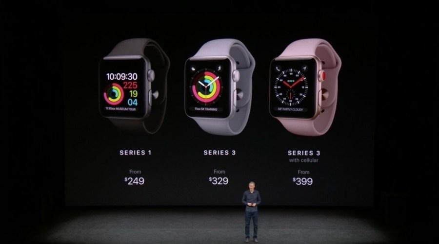 Los tres nuevos Apple Watch con sus respectivos precios.