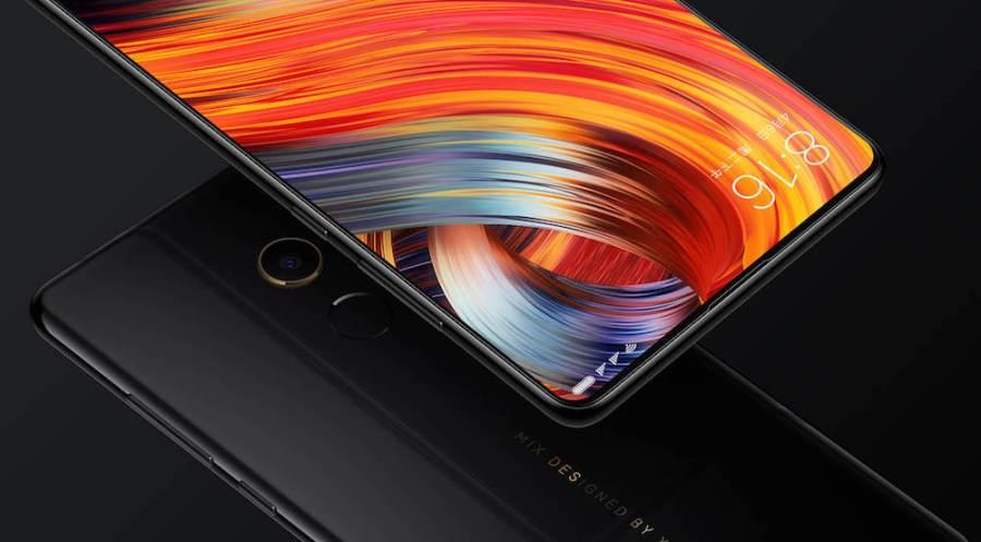 Render oficial del frente y dorso del Xiaomi Mi Mix 2 negro.