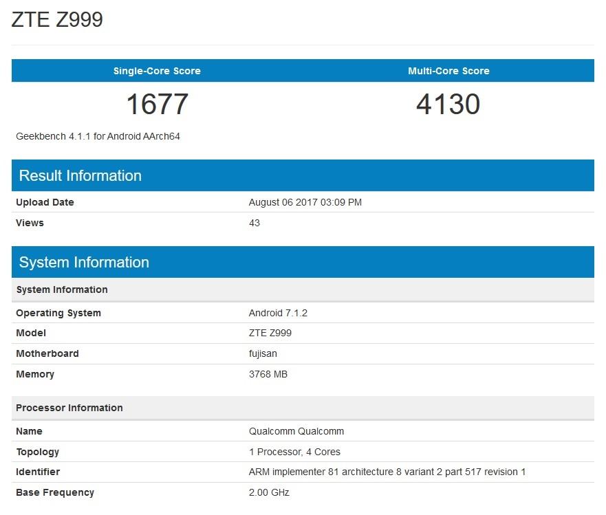 """Especificaciones en Geekbench del ZTE Z999 o ZTE """"Axon Multy""""."""