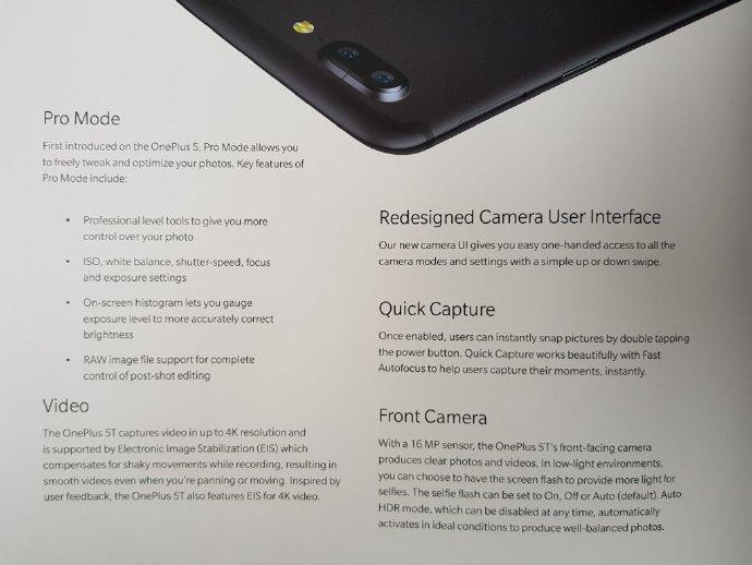 Segunda de cuatro fotografías que detallarían las características del OnePlus 5T.