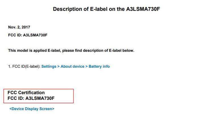 Constancia de la certificación FCC para el Samsung Galaxy A7 (2018).
