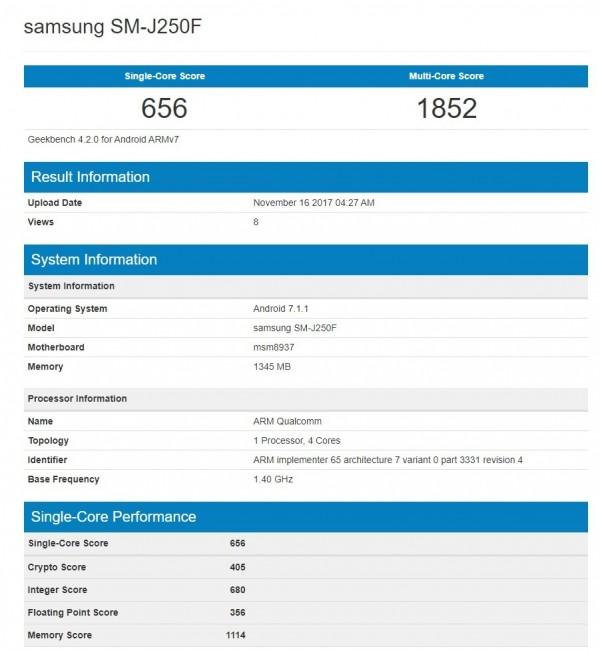 """Captura de las características del Samsung """"SM-J250F"""" en Geekbench."""