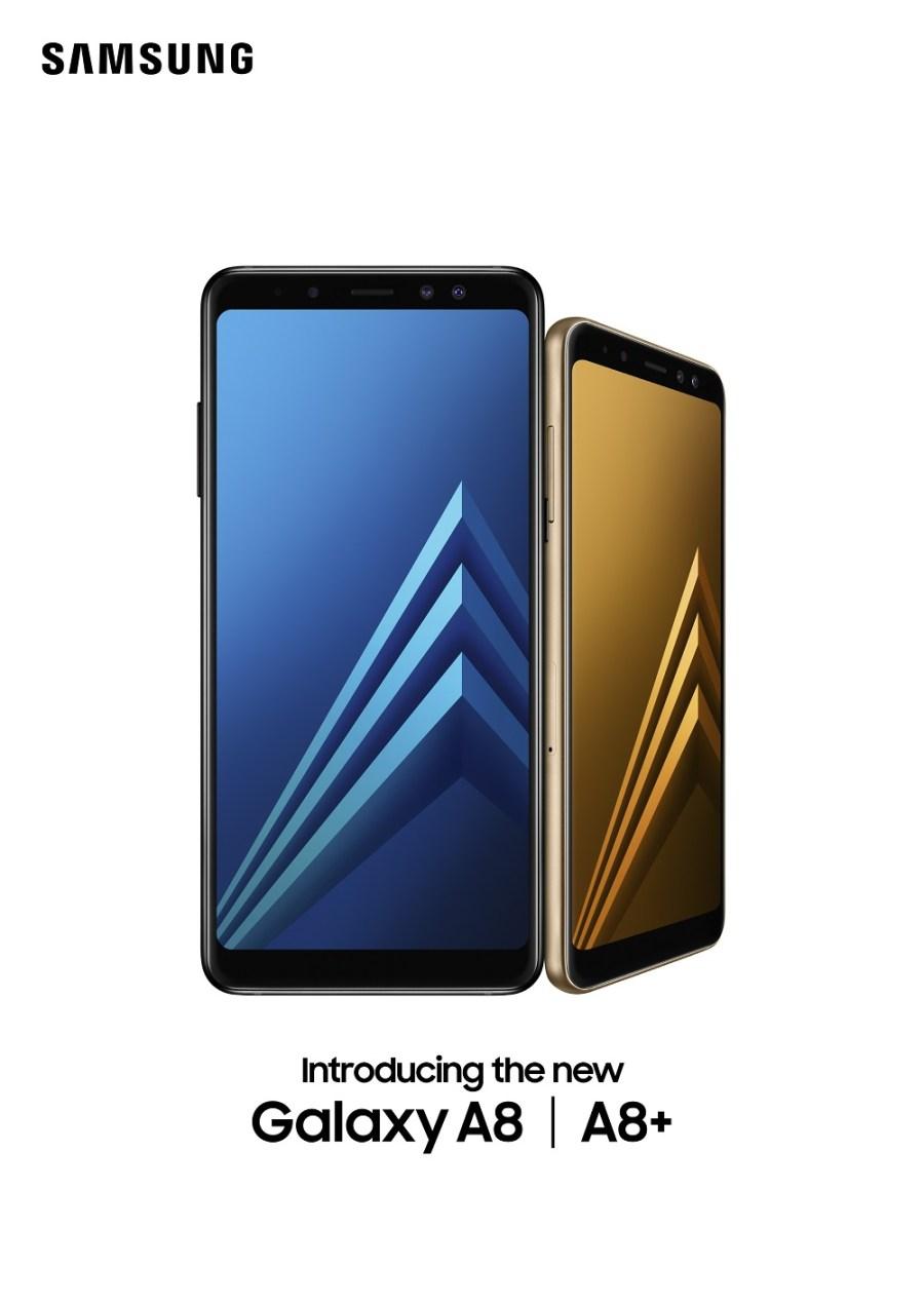 Render oficial del frente del Samsung Galaxy A8 (2018) y del Samsung Galaxy A8+ (2018).