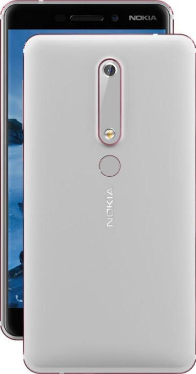 Render oficial del dorso y parte del frente del Nokia 6 (2018) color plateado.