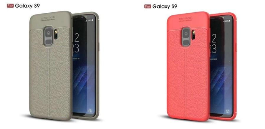 Carcasas protectoras colores gris claro/ocre y coral del Samsung Galaxy S9.
