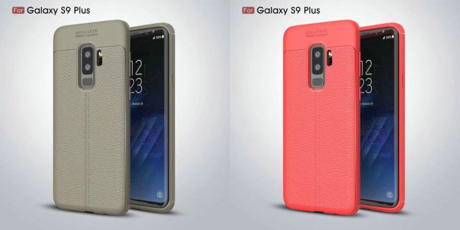 Carcasas protectoras colores gris claro/ocre y coral del Samsung Galaxy S9 Plus.