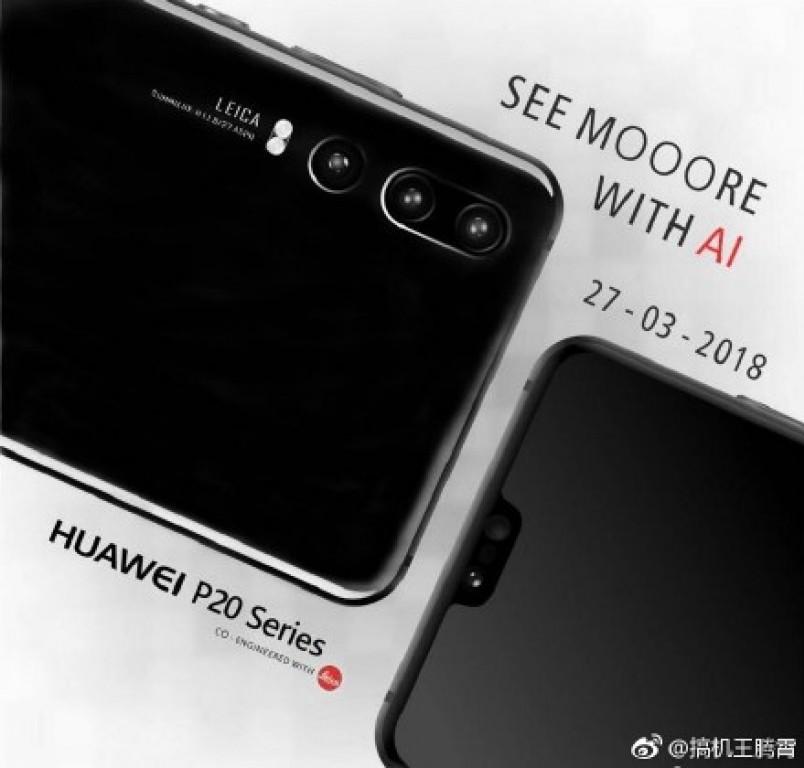 Primeros renders publicitarios oficiales del Huawei P20 color negro con cámara dorsal triple.