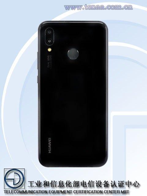 Render oficial del dorso del Huawei P20 Lite color negro según TENAA.